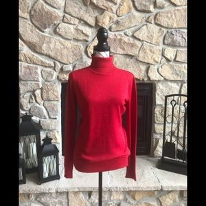 Joseph A red shimmer turtleneck sweater